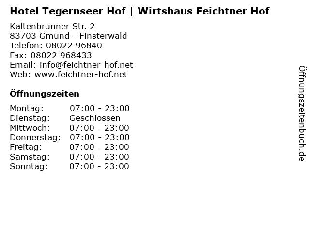 Hotel Tegernseer Hof | Wirtshaus Feichtner Hof in Gmund - Finsterwald: Adresse und Öffnungszeiten