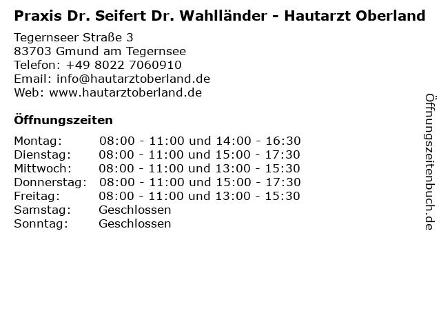 Praxis Dr. Seifert Dr. Wahlländer - Hautarzt Oberland in Gmund am Tegernsee: Adresse und Öffnungszeiten