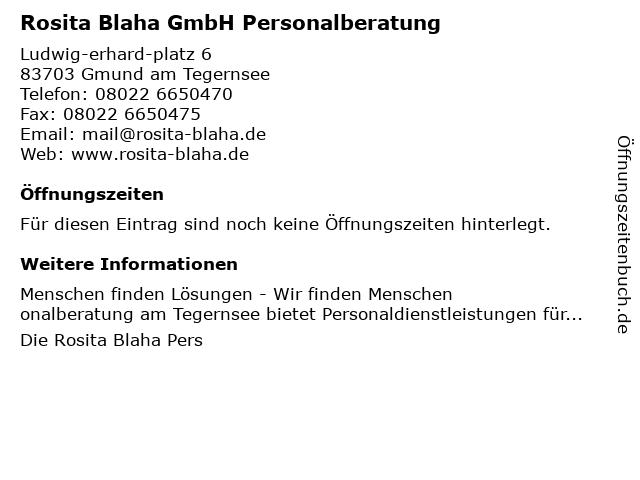 Rosita Blaha GmbH Personalberatung in Gmund am Tegernsee: Adresse und Öffnungszeiten