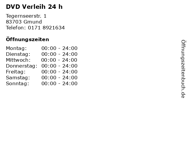 DVD Verleih 24 h in Gmund: Adresse und Öffnungszeiten