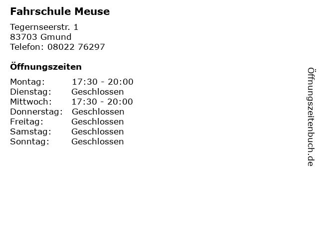 Fahrschule Meuse in Gmund: Adresse und Öffnungszeiten