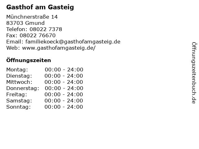 Gasthof am Gasteig in Gmund: Adresse und Öffnungszeiten