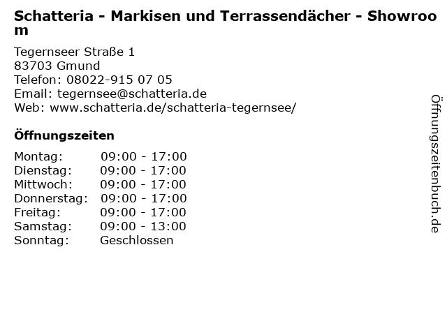Schatteria - Markisen und Terrassendächer - Showroom in Gmund: Adresse und Öffnungszeiten