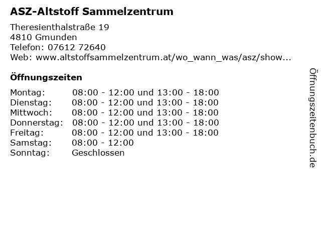 ASZ-Altstoff Sammelzentrum in Gmunden: Adresse und Öffnungszeiten