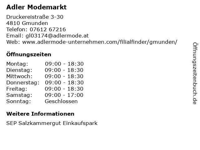Adler Modemärkte GmbH in Gmunden: Adresse und Öffnungszeiten
