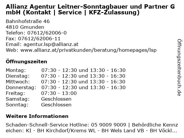 Allianz Agentur Leitner-Sonntagbauer und Partner GmbH (Kontakt | Service | KFZ-Zulassung) in Gmunden: Adresse und Öffnungszeiten
