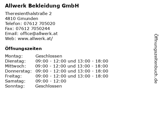 Allwerk Bekleidung GmbH in Gmunden: Adresse und Öffnungszeiten