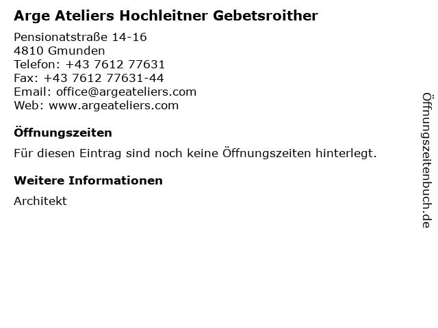 Arge Ateliers Hochleitner Gebetsroither in Gmunden: Adresse und Öffnungszeiten