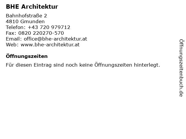 BHE Architektur in Gmunden: Adresse und Öffnungszeiten