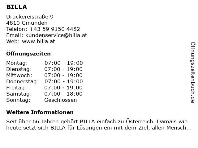 BILLA AG in Gmunden: Adresse und Öffnungszeiten