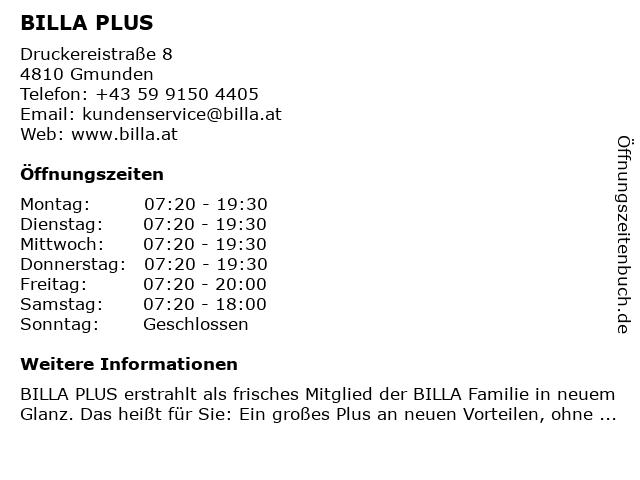 BILLA PLUS in Gmunden: Adresse und Öffnungszeiten