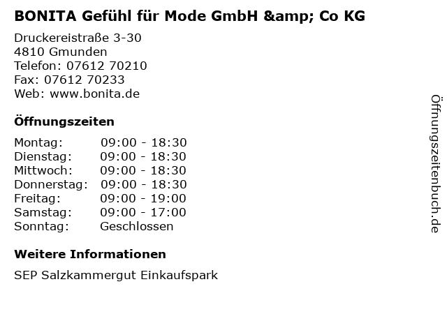 BONITA Gefühl für Mode GmbH & Co KG in Gmunden: Adresse und Öffnungszeiten