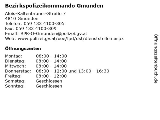 Bezirkspolizeikommando Gmunden in Gmunden: Adresse und Öffnungszeiten