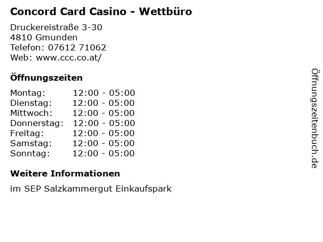 Concord Card Casino - Wettbüro in Gmunden: Adresse und Öffnungszeiten
