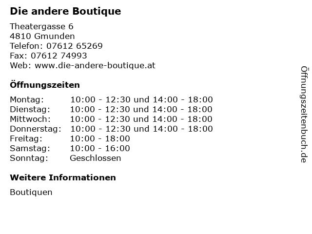 Die andere Boutique in Gmunden: Adresse und Öffnungszeiten