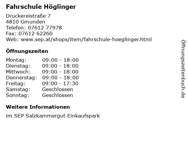 Fahrschule Höglinger in Gmunden: Adresse und Öffnungszeiten