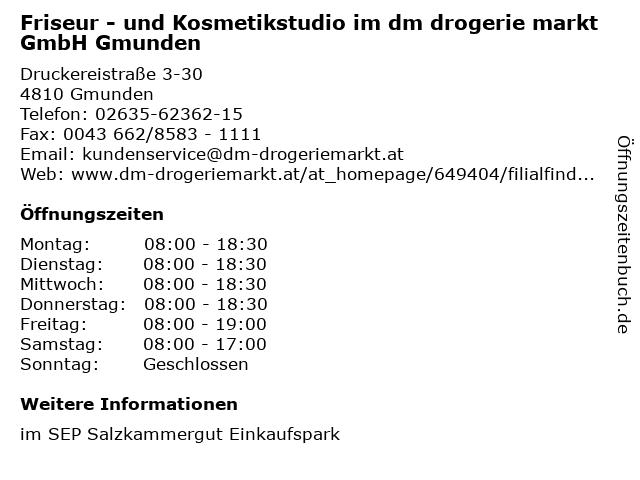 Friseur - und Kosmetikstudio im dm drogerie markt GmbH Gmunden in Gmunden: Adresse und Öffnungszeiten