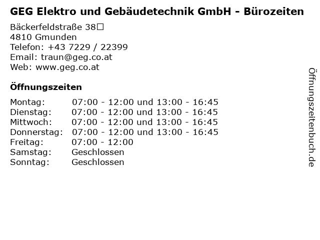GEG Elektro und Gebäudetechnik GmbH - Bürozeiten in Gmunden: Adresse und Öffnungszeiten