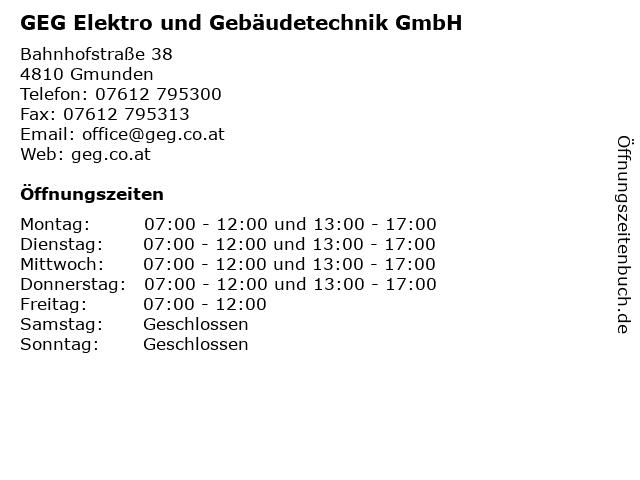 GEG Elektro und Gebäudetechnik GmbH in Gmunden: Adresse und Öffnungszeiten