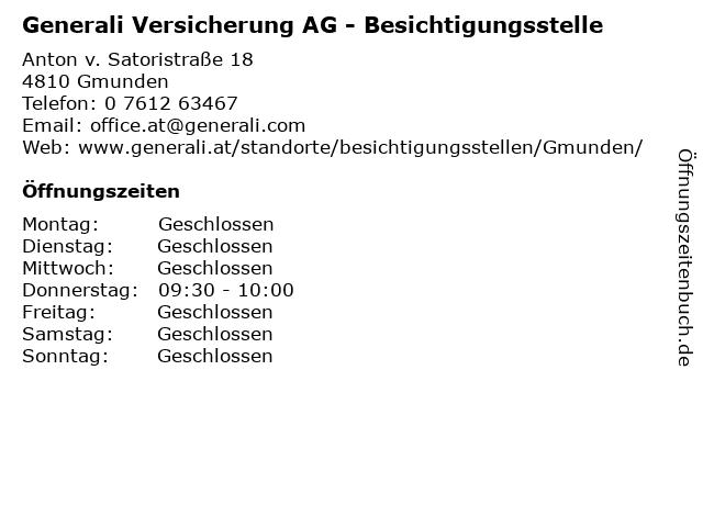 Generali Versicherung AG - Besichtigungsstelle in Gmunden: Adresse und Öffnungszeiten