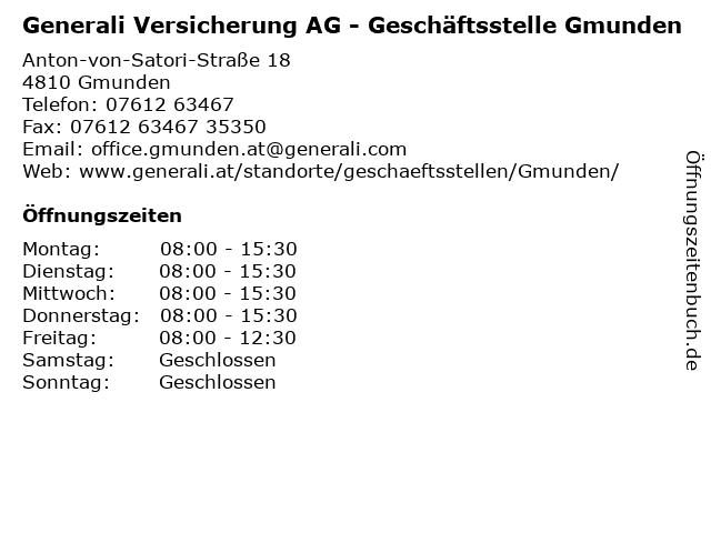 Generali Versicherung AG - Geschäftsstelle Gmunden in Gmunden: Adresse und Öffnungszeiten