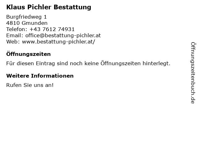 Klaus Pichler Bestattung in Gmunden: Adresse und Öffnungszeiten