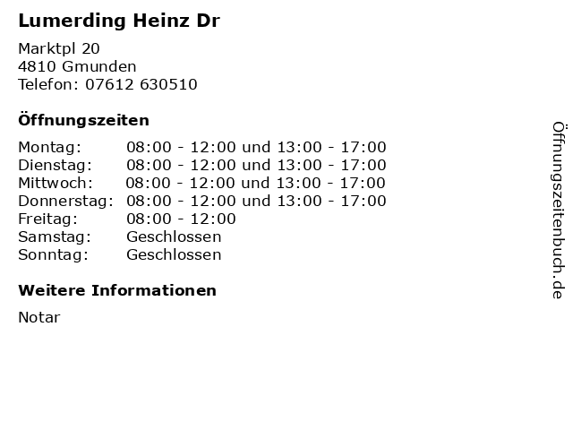 Lumerding Heinz Dr in Gmunden: Adresse und Öffnungszeiten