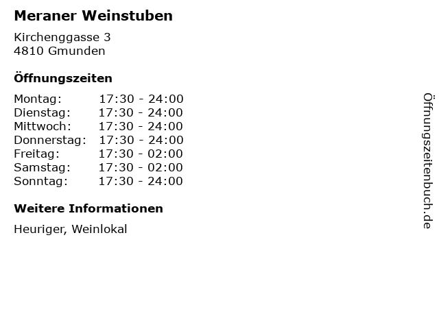 Meraner Weinstuben in Gmunden: Adresse und Öffnungszeiten