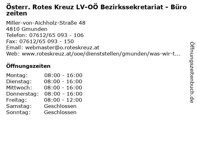 Österr. Rotes Kreuz LV-OÖ Bezirkssekretariat - Bürozeiten in Gmunden: Adresse und Öffnungszeiten