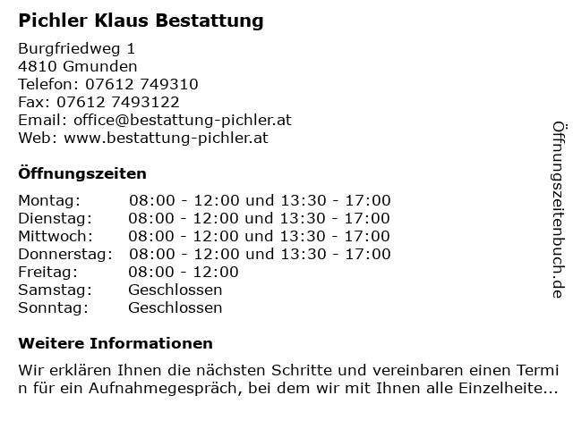 Pichler Klaus Bestattung in Gmunden: Adresse und Öffnungszeiten