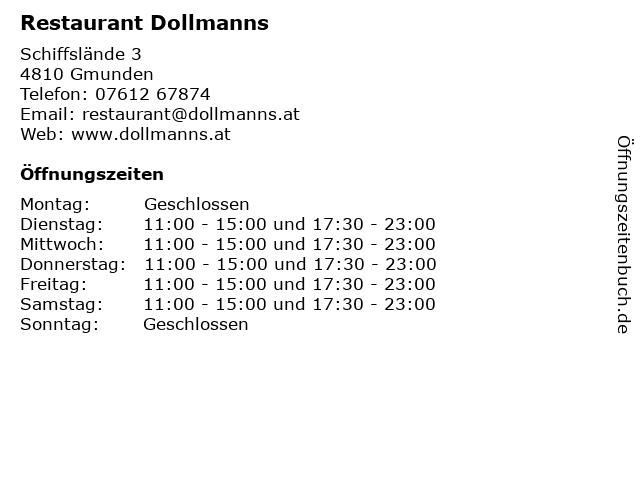 Restaurant Dollmanns in Gmunden: Adresse und Öffnungszeiten