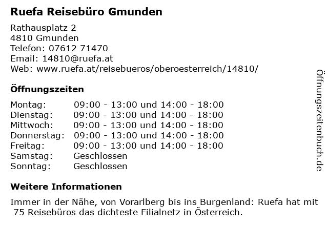 Ruefa Reisebüro Gmunden in Gmunden: Adresse und Öffnungszeiten
