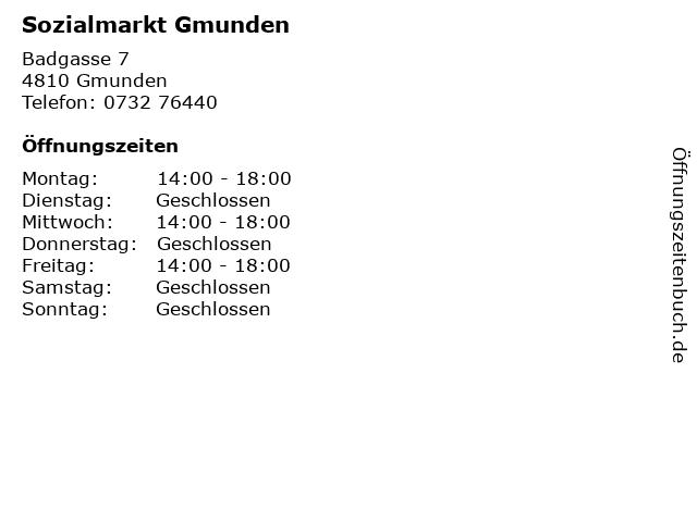 Sozialmarkt Gmunden in Gmunden: Adresse und Öffnungszeiten