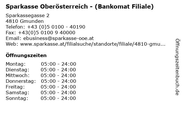 Sparkasse Oberösterreich - (Bankomat Filiale) in Gmunden: Adresse und Öffnungszeiten