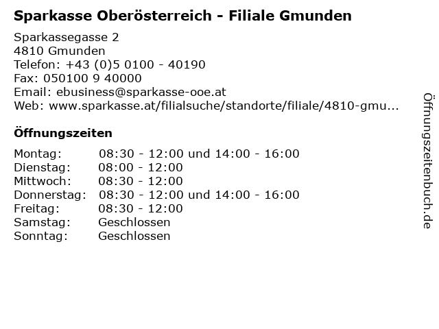 Sparkasse Oberösterreich - Filiale Gmunden in Gmunden: Adresse und Öffnungszeiten