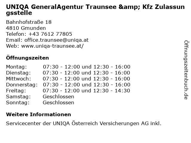 UNIQA ServiceCenter & Kfz Zulassungsstelle Gmunden in Gmunden: Adresse und Öffnungszeiten