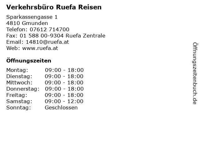 Verkehrsbüro Ruefa Reisen in Gmunden: Adresse und Öffnungszeiten