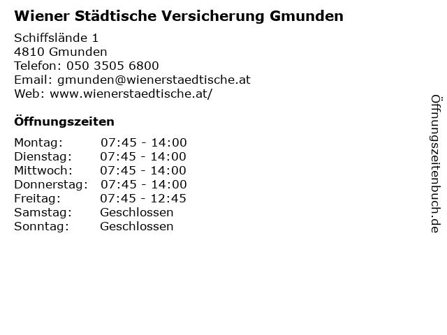 Wiener Städtische Versicherung Gmunden in Gmunden: Adresse und Öffnungszeiten