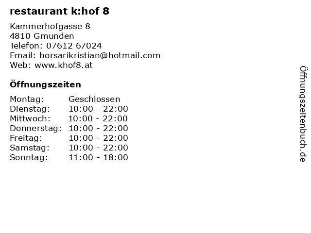restaurant k:hof 8 in Gmunden: Adresse und Öffnungszeiten