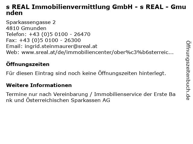 s REAL Immobilienvermittlung GmbH - s REAL - Gmunden in Gmunden: Adresse und Öffnungszeiten