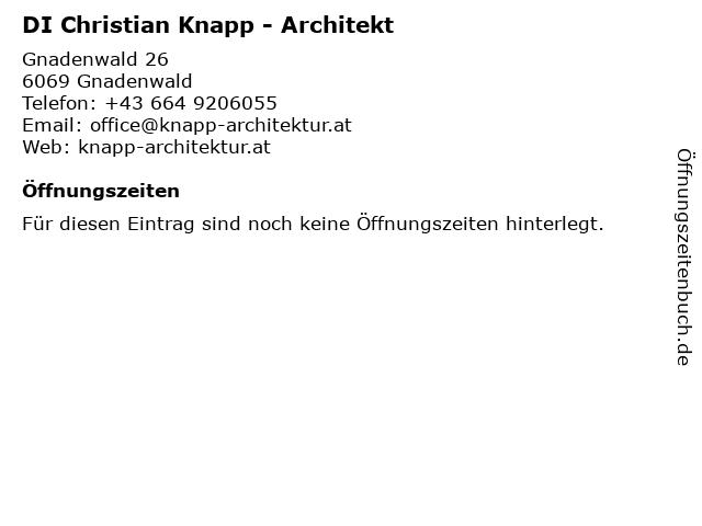 DI Christian Knapp - Architekt in Gnadenwald: Adresse und Öffnungszeiten