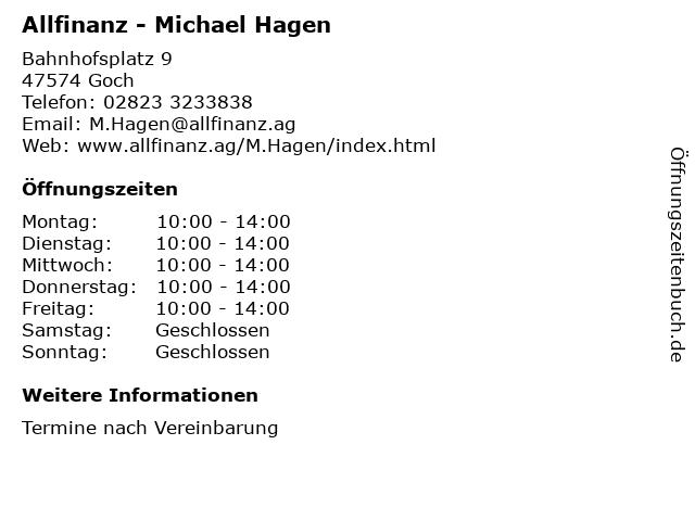 Allfinanz - Michael Hagen in Goch: Adresse und Öffnungszeiten