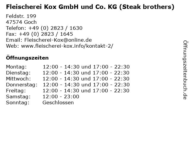 Fleischerei Kox GmbH und Co. KG (Steak brothers) in Goch: Adresse und Öffnungszeiten