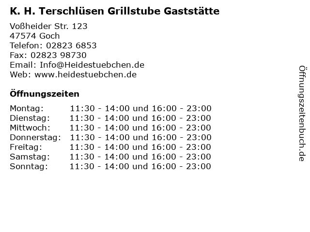 K. H. Terschlüsen Grillstube Gaststätte in Goch: Adresse und Öffnungszeiten
