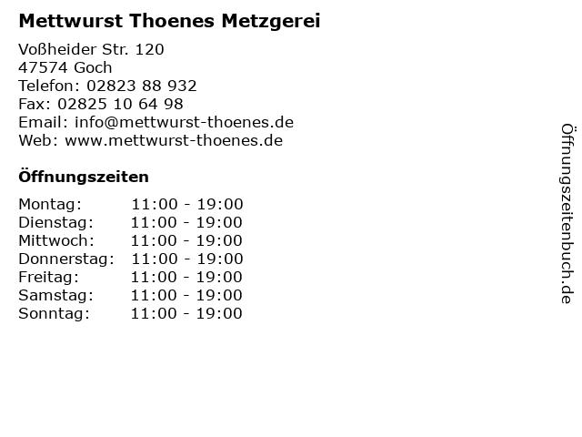Mettwurst Thoenes Metzgerei in Goch: Adresse und Öffnungszeiten
