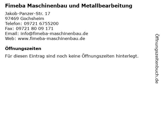 Fimeba Maschinenbau und Metallbearbeitung in Gochsheim: Adresse und Öffnungszeiten