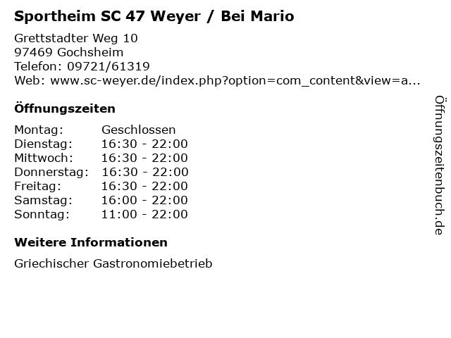 Sportheim SC 47 Weyer / Bei Mario in Gochsheim: Adresse und Öffnungszeiten