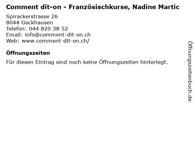 Comment dit-on - Französischkurse, Nadine Martic in Gockhausen: Adresse und Öffnungszeiten