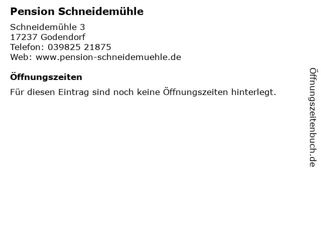 Pension Schneidemühle in Godendorf: Adresse und Öffnungszeiten