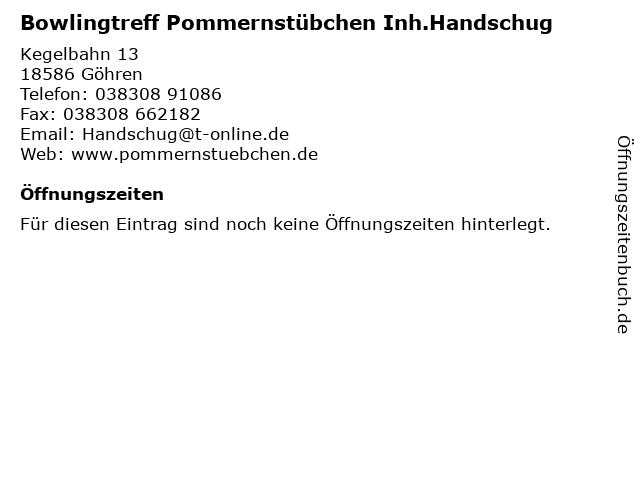 Bowlingtreff Pommernstübchen Inh.Handschug in Göhren: Adresse und Öffnungszeiten